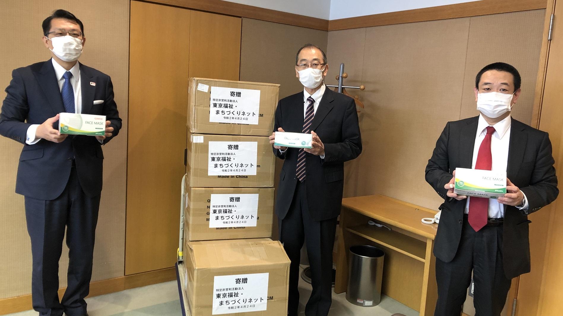 文京区にマスク1万枚を寄贈